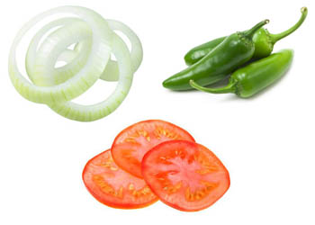 Onions, tomatoes or jalapenos