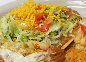 ONE-BEAN-TOSTADA-TWO-CHEESE-ENCHILADAS