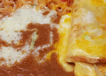 ONE CHICKEN TACO, ONE SOUR CREAM CHICKEN ENCHILADA & ONE CHEESE ENCHILADA
