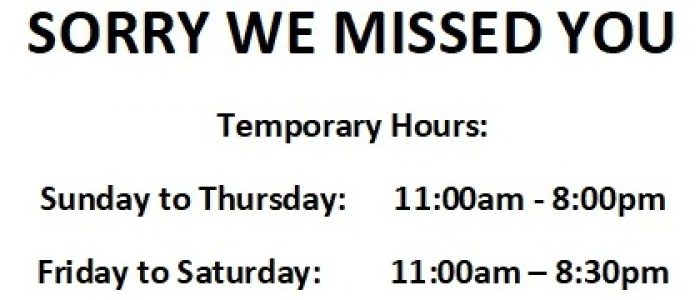 Open Temporary Hours